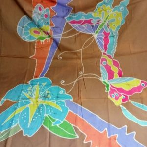 Accessories - Freehand Butterfly Batik Cotton Scarf Large